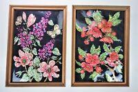 "2 Floral Foil Art Vtg 70s Folk Americana Art Framed Pictures Pics 7.75"" x 10.75"""
