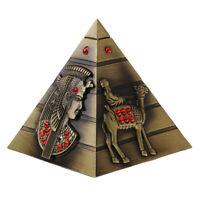 "4"" Metal Egyptian Pyramid Statue Home Ornament Travel Landmark Souvenir Gift"