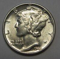 1944 Mercury Head Silver Dime Grading in the AU Range Nice Original Coins