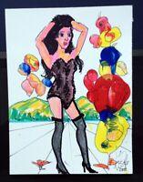 "Dali/Grafe Surrealismus Acryl auf Karton 15 x 20 cm ""Erotik und Natur"""