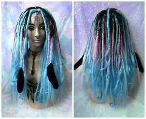 "Dreadlock WIG 28"" Long Synthetic Kanekalon Hair Dreads Blue Boho Kawaii Gothic"