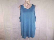 Zenana Outfitters Tee Shirt Top Plus 3X Blue Short Cold Shoulder Sleeves Stretch