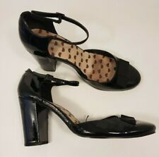 Fiore size 6 (39) black faux patent leather buckle strap bow front block heels