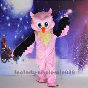 Halloween Big Pink Owl Mascot Costume Animal Costume Adults Party Fancy Dress
