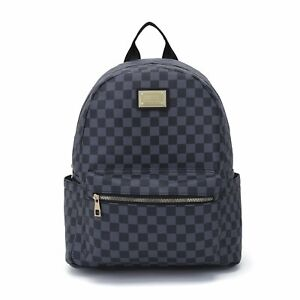 Leather Backpack with Checker Print & Fully Adjustable Shoulder Straps