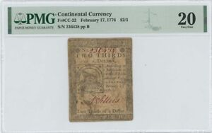 1776 February 17 $2/3 Continental Currency Fugio CC-22 PMG VF20