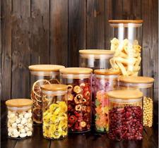 Glass Jar Food Storage Bottles Sealed Cans Bamboo Lid Large Capacity Glass Jars