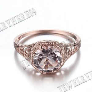 Hot 8mm Round Silver Flawless Cubic Zirconia Engagement Wedding Retro Fine Ring