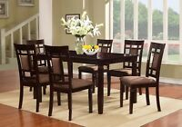 7 PC Brand New Cappuccino Finish Solid Wood Dining Table Set, 1 Table & 6 Chairs