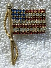 Rows Clear          Lot #13 Jeweled American Flag Pin 12 Blue Stars/4 Rows Red/3