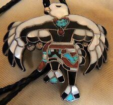 """Zuni Dixon Shebola Bolo Eagle Dancer w Original Tips Mosaic Inlay """"Book Piece"""""""