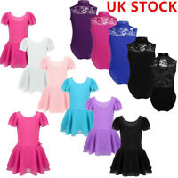 UK Kids Girls Ballet Dress Gymnastics Leotards Tutu Skirts Dance Wear Jumpsuits