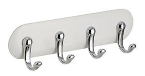 iDesign 54542 AFFIXX Self-Adhesive Key Holder with 4 Hooks, Plastic Key Hooks