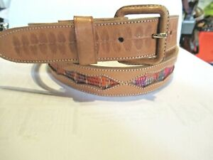 """NEW Handcrafted Tan Embossed Leather Belt 36 L 1"""" wide Multi color Cording 1337"""