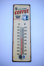 Traditional Kitchen Wall Thermometer On Retro Coffee Enamel Sign