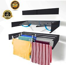 Clothes Drying Rack Wall Mounted Foldable Dryer line Airer Indoor Outdoor Horse