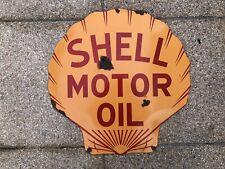 Rare Old Shell Motor Oil Enamel Sign Large