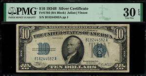 1934B $10 Silver Certificate FR-1703 - Graded PMG 30 EPQ - Very Fine
