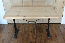 VINTAGE SOLID PINE TABLE WITH WROUGHT IRON LEGS KITCHEN,DINING OR GARDEN TABLE