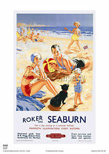 Roker SEABURN Poster Pubblicità ferroviaria retrò vintage, stampa art. DA VIAGGIO
