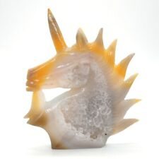 """5.7"""" Unicorn Angle Horse Figurine Gray Agate Geode Cluster Crystal Fairy Statue"""