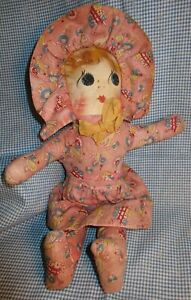 Antique 1930s HANDMADE CLOTH DOLL painted oil cloth face NOVELTY FABRIC  sitting