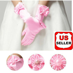Elegant Pearl  Bow Flower Gril's Dress Long White Gloves for Kids Baby Girl