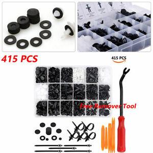 415PCS Car Auto Push Pin Rivet Bumper Trim Clips Fastener Kit 18 Sizes Plastic