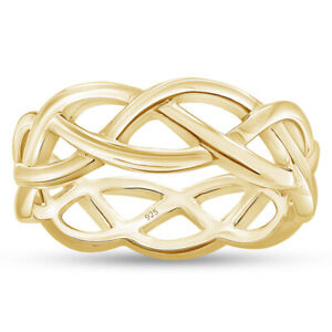 Celtic Knot Eternity Band 14k Yellow Gold Over Sterling Silver Size 8