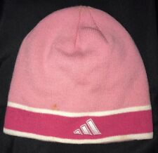 d0dadd8a585 womens one size fits most PINK ADIDAS knit WINTER HAT beanie STRETCH stripe
