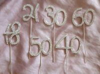 DIAMANTE CRYSTAL NUMBER PICKS  Birthday Anniversaries 18, 21, 30, 40, 50, 60, 70