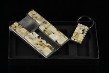 Set of Credit Card Case & Key Chain UNIQUE Color BALTIC AMBER Mosaic c140204-4