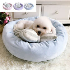 Fluffy Dog Cat Bed with Bowknot Pillow Round Plush Pet Cushion for Small Dogs XS