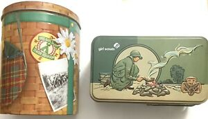 🌈 Girl Scouts Cookie Tins Lot Of 2 Ashdon Farms Campfire And Backpack Tin