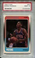1988 Fleer Basketball #43 Dennis Rodman Rookie Card RC Graded PSA MINT 9 Bulls