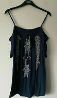LADIES M&S INDIGO RANGE SIZE 22 BLUE COLD SHOULDER SOFT CRINKLE TOP FREE POST