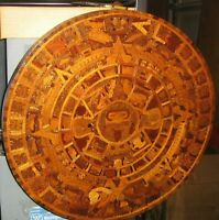 "Lot 3 Aztec Calendars,Handmade Mexican Wooden,Stone/Ceramic,Clock,LARGE 18"" wide"