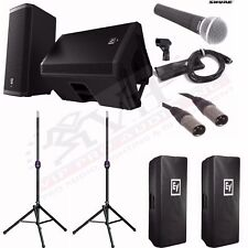 """EV ZLX15P 15"""" Powered Speakers + Ultimate Stands TS110B + Shure SM58 Mic, BUNDLE"""