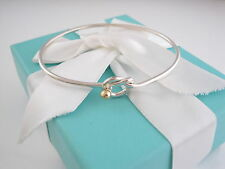 Auth Tiffany & Co Silver Gold 18K Love Knot Bangle Bracelet Box Included