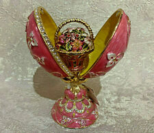 """Faberge Egg Pink Flowers Bouquet (6""""). Made in Russia"""
