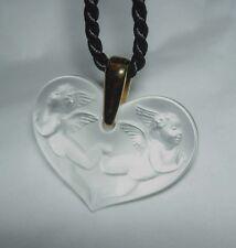 Authentic LALIQUE Angelots Heart Angel Cherub Crystal Pendant Necklace Mint