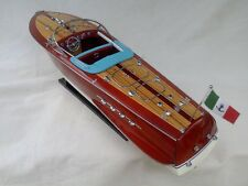 "Cedar Wood Riva Tritone 24"" Quality Model Boat White-Blue Beautiful Xmas Gift"
