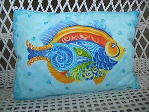 Handmade lumbar pillow tropical fish
