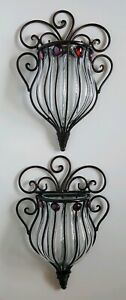 Pair Of Wrought Iron & Glass Wall Sconce Pockets Home Garden Decor