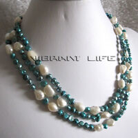 "56"" 5-9mm Teal White Baroque Freshwater Pearl Necklace U"