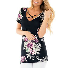 Plus Size Women Summer Short Sleeve Floral T-Shirt Lady Loose Casual Tops Blouse