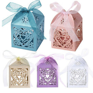 1/25/50/100PCS Luxury Wedding Favours Favor Boxes Love Heart Sweet Candy Boxes