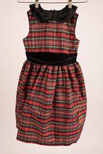 Jayne Copeland Girl Dress sz 8 Christmas Red Green Plaid Velvet Peter Pan Collar