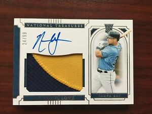 Nate Lowe 2019 National Treasures Rookie Material Signatures Patch /99 #64 RPA
