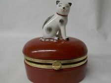 Fitz And Floyd Cat On a Dark Red Trinket Box.